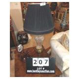 CRYSTAL TABLE LAMP W/ BRASS BASE