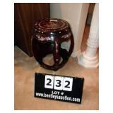 TEAKWOOD END TABLE W/ MOTHER OF PEARL INLAY
