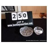 LOT: CUT GLASS FOOTED BOWL, PRESSED GLASS BOWL
