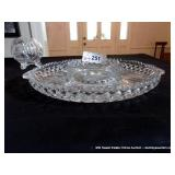 LOT; PRESSED GLASS DIVIDED PLATTER, FOOTED BOWL