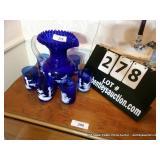 LOT: PITCHER W/ 6 CUPS ANTIQUE COBALT BLUE MARY