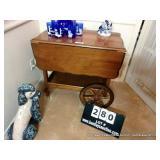 WALNUT TEA TROLLEY CART W/ DROP LEAF SIDES