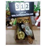 BOX: ASSORTED DECORATIONS & CANDLEHOLDERS