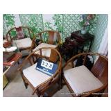 LOT: BAMBOO STYLE ARM CHAIR W/ SEAT CUSHION