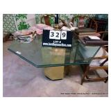 OCTAGON GLASS TOP W/ BRASS BASE TABLE (GLASS IS