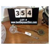 LOT: GLASS LADLE, BRASS CANDLE SNAFFER