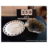 LOT: 1 GLASS BOWL, 1-DIVIDED DISH PLATTER
