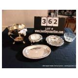 LOT: 5 VARIOUS SILVER PLATE SERVING PIECES