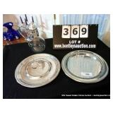 LOT: GLASS PITCHER, 2-ROUND SILVER PLATE PLATTERS