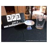 LOT: FOOTED DISH, SIGNED ETCHED CRYSTAL VASE