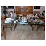 GLASSTOP DINING TABLE W/ METAL BASE 4