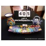 LOT: ORIENTAL PICTHER, MEXICAN BOAT PLATTER &