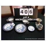 LOT: 2-REAL OLD WILLOW CUP & SAUCERS, CERAMIC