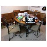 LOT: 5-PIECE BREAKFAST NOOK SET, ROUND TABLE, 4