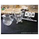 LOT: 2 GLASS PITCHERS
