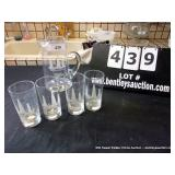 LOT: 1 PITCHER, 4 GLASSES ETCHED NAVAJO