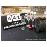 LOT: 3 GLASSES, RED VASE, & 3 STEMS