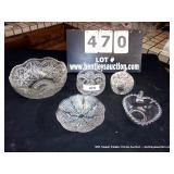LOT: 5 PRESSED GLASS BOWLS, SUGAR & DISHES