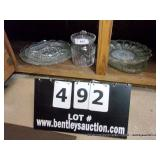 LOT: GLASS CANISTER & 4 PLATTERS