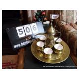 LOT: TURKISH TEA SET, PITCHER, 6 CUPS & SAUCERS