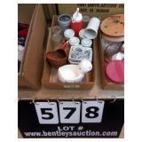 BOX:  STONEWARE CUPS, DUCK SOAP DISH, MULE COFFEE