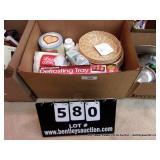 BOX:  KITCHENWARE, WICKER PLATE HOLDERS, NAPKINS,