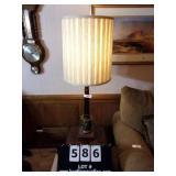 WALNUT & BRASS COLUMN TABLE LAMP