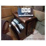 DECK STAINED PINE MAGAZINE RACK END TABLE - WITH