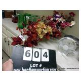 LOT:  2 GLASS BASE MIXED FLORAL ARRANGEMENTS