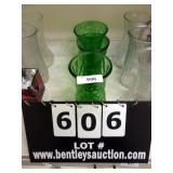LOT:  3 GREEN PRESSED GLASS FLOWER VASES