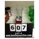LOT:  1 RED GLASS AND 2 CLEAR PRESSED GLASS
