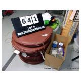LOT:  BROWN PATIO CUSHIONS  AND BOX OF MIXED JARS