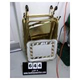 VINTAGE:  GOLD & WHITE PAINTED 4 TV TRAY TABLES