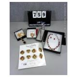 LOT: (5) ASSORTED PINS, NECKLACES, EARRINGS,