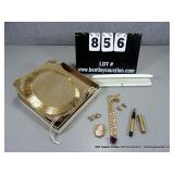 LOT: (4)~ 1-QVC GOLD RIBBON NECKLACE, 1-PINK