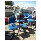 BLUE CASTERED CHAIRS (8X MONEY)