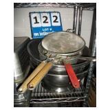 LOT: ASSORTED PANS, POTS, STRAINERS