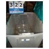 PLASTIC BIN/TOTE: DECORATIVE ROUND VASES (8X