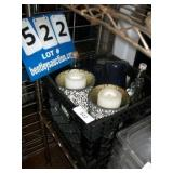 MILK CRATE: ASSORTED CANDLES, HARDWARE