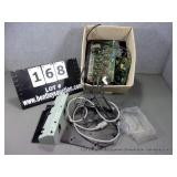 BOX: ASSORTED POWER CABLES, MOTHER BOARDS, METAL