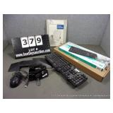 LOT: ASSORTED OFFICE SUPPLIES - 2-KEYBOARDS, HOLE
