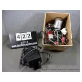 BOX: POWER SUPPLY, ASSORTED POWER CABLES, LED