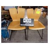 LOT; (2) LIGHT COLORED WOOD & BLACK METAL CHAIRS
