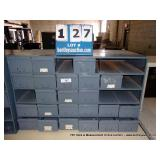 METAL 30 DRAWER BOLT BIN (7 BINS MISSING)