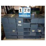 METAL 30 DRAWER BOLT BIN (8 BINS MISSING)