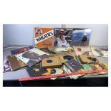 Assorted vinyl records. Wheaties, Elton John,