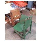 5 vintage wood chairs
