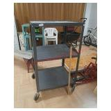 Grey metal AV cart