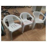 >3 white plastic garden patio chairs