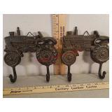 2 cast iron tractor coat / hat hooks